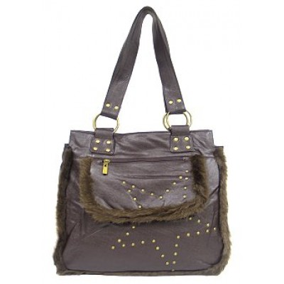 Shearling Handbag w/ Studs - Brown - BG-1744BN
