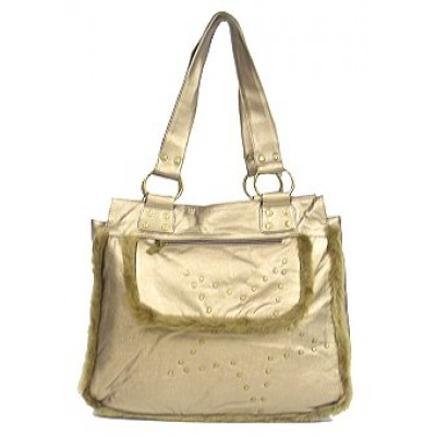 Shearling Handbag w/ Studs - Metallic Gold - BG-1744BZ