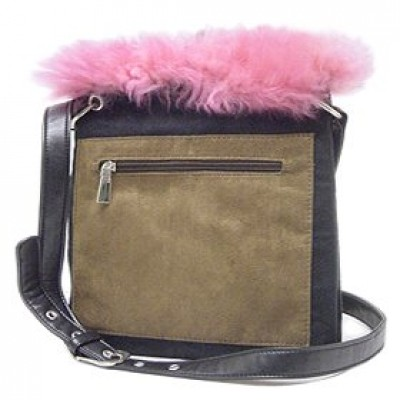 Pocket Messenger w/ Genuine Lamb Fur Trim - BG-UG003BK-PK