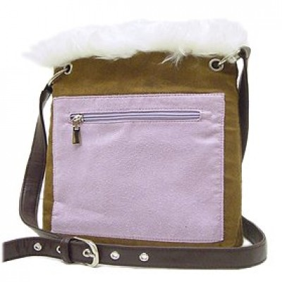 Pocket Messenger w/ Genuine Lamb Fur Trim - BG-UG003BN-WT