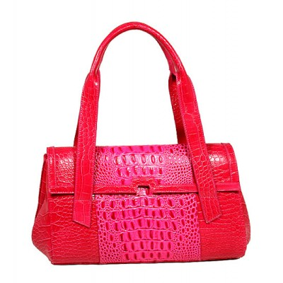 Genuine Cow Leather - GNZLZ inspired w/ Croc Embossed Envelop Satchel - Fuchsia -BG-25005FU