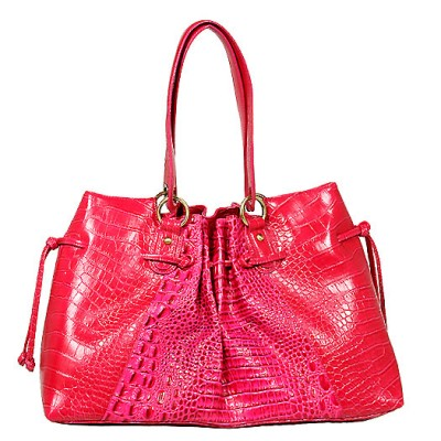 Genuine Cow Leather - GNZLZ inspired w/ Croc Embossed Drawstring Tote - Fuchsia - BG-25009FU