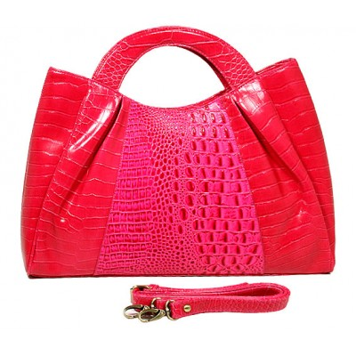 Genuine Cow Leather - GNZLZ inspired w/ Croc Embossed Satchel - Fuchsia - BG-25012FU
