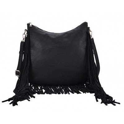 Hobo Bag w/ Genuine Leather Fringes - Black - BG-A4111BK