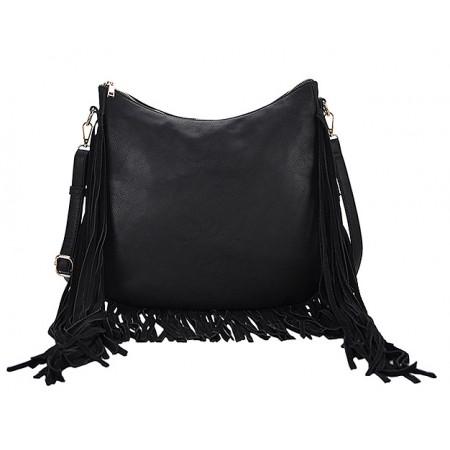 Hobo Bag w/ Genuine Leather Fringes - Black - BG-A4111BK