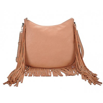 Hobo Bag w/ Genuine Leather Fringes - Brass - BG-A4111BS