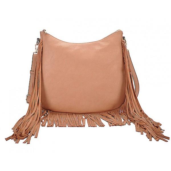 Hobo Bag w/ Genuine Leather Fringes - Brass - BG-A4111BS