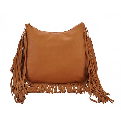 Hobo Bag w/ Genuine Leather Fringes - Tan - BG-A4111TN