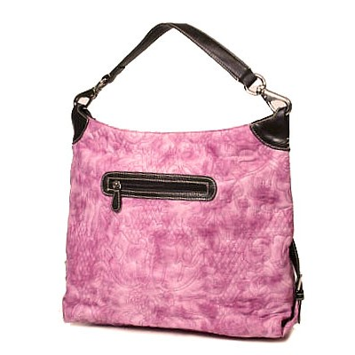 Floral Quilted Leather Like Hobo - Pink - BG-HB07PK
