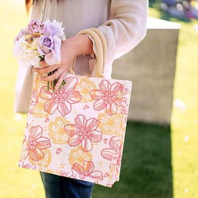 "Jute Tote: 12"" Floral Print w/ Cotton Webbed Tube Handles - BG-JTG104"