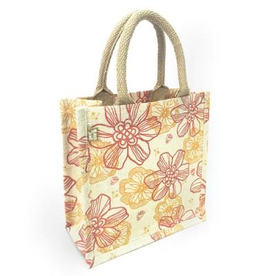 "Jute Tote: 10"" Floral Print w/ Cotton Webbed Tube Handles - BG-JTG204"