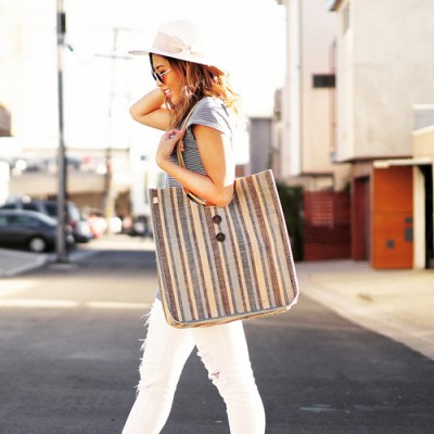 Jute Tote: Stripes w/ Cotton Woven Loop Handles - BG-JTS102