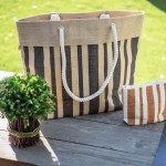 Jute Tote: Stripes w/ Cotton Cable Loop Handles - BG-JTT105