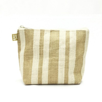 Jute Cosmetic Purses: Multi Stripes - CM-JTP105