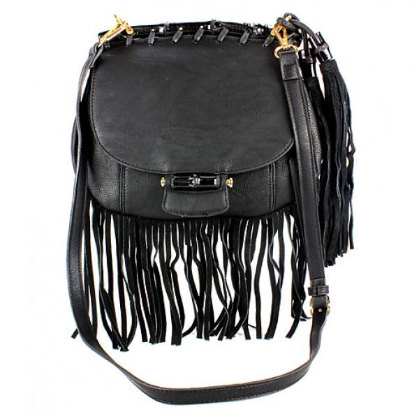Messenger Bag w/ Genuine Leather Fringes - Black - BG-A43810BK