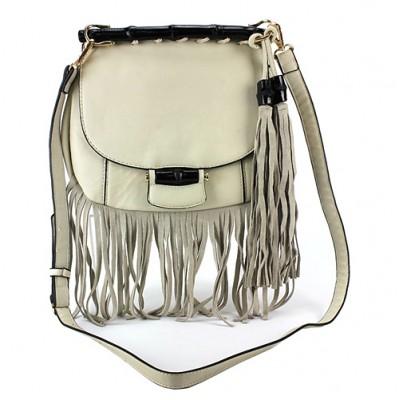 Messenger Bag w/ Genuine Leather Fringes - Bone - BG-A43810BONE
