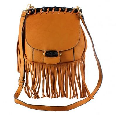 Messenger Bag w/ Genuine Leather Fringes - Tan - BG-A43810TN