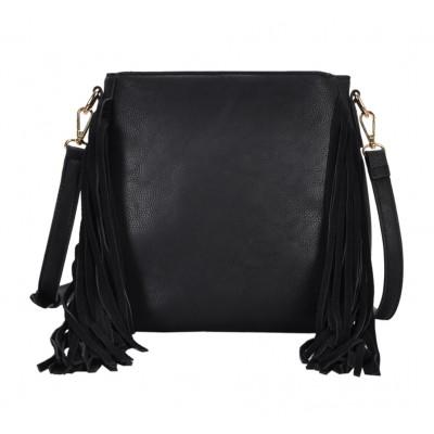 Messenger Bag w/ Genuine Leather Fringes - Black - BG-A43819BK