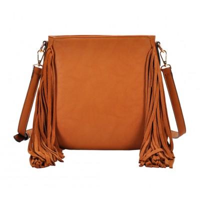 Messenger Bag w/ Genuine Leather Fringes - Tan - BG-A43819TN