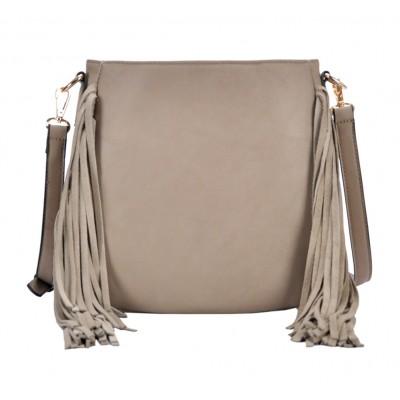 Messenger Bag w/ Genuine Leather Fringes - Taupe - BG-A43819TP