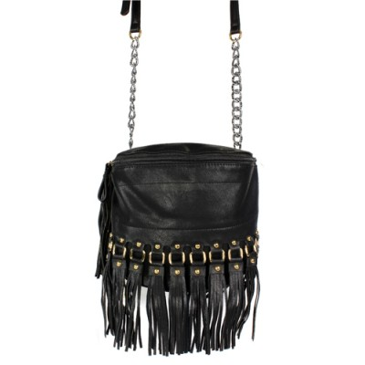 Shoulder/ Messenger Bag Accent With Fringes - Black - BG-FN4153BK