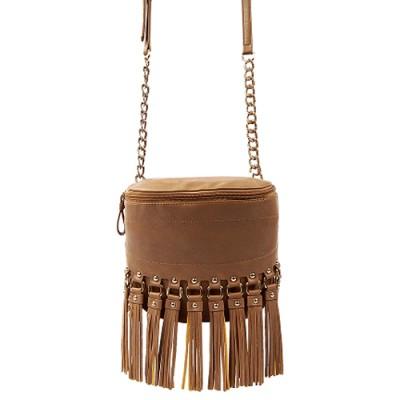 Shoulder/ Messenger Bag Accent With Fringes - Brown - BG-FN4153BN