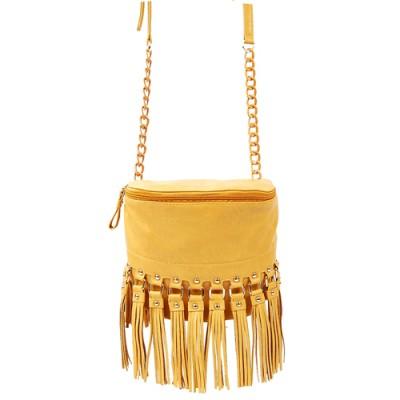 Shoulder/ Messenger Bag Accent With Fringes - Mustard - BG-FN4153MUS
