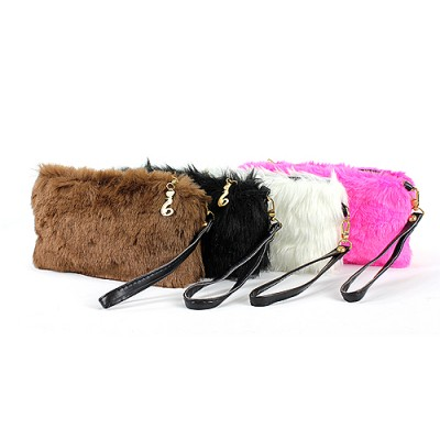 Faux Fur Small Pouch With Wristlet - BG-FUR001