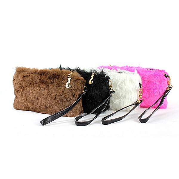 Faux Fur Small Pouch With Wristlet - BG-FUR001