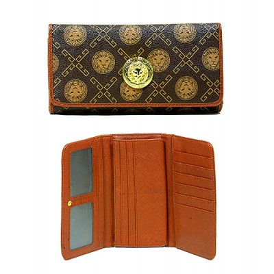 Monogram Check Book Wallet - Coffee - WL-918COF