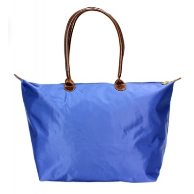 Nylon Large Shopping Tote w/ Leather Like Handles - Blue -BG-HD1293BL