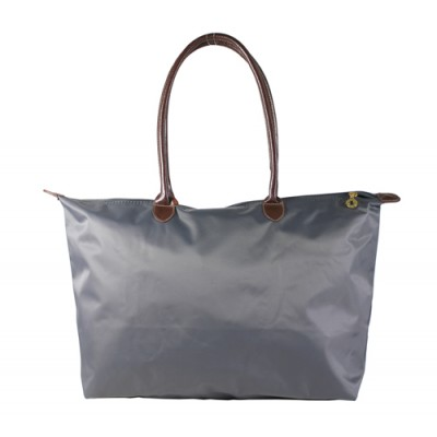 Nylon Large Shopping Tote w/ Leather Like Handles - Grey -BG-HD1293GY
