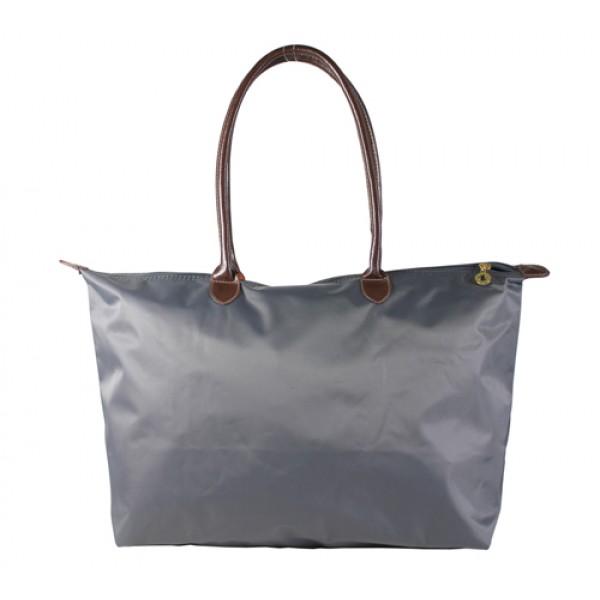 Nylon Large Shopping Tote w/ Leather Like Handles - Grey - BG-HD1293GY