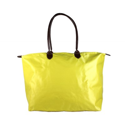 Nylon Large Shopping Tote w/ Leather Like Handles - Lime -BG-HD1293LM