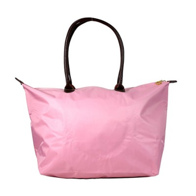 Nylon Large Shopping Tote w/ Leather Like Handles - Pink -BG-HD1293PK