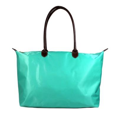 Nylon Large Shopping Tote w/ Leather Like Handles  - BG-HD1293TR
