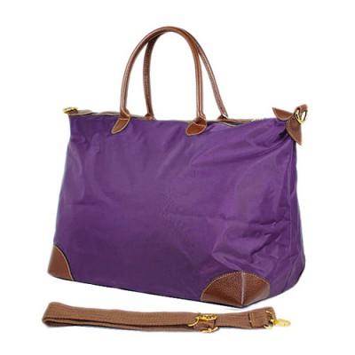 Nylon Large Shopping Tote w/ Nylon Shoulder Strap - Purple - BG-HD1294PU