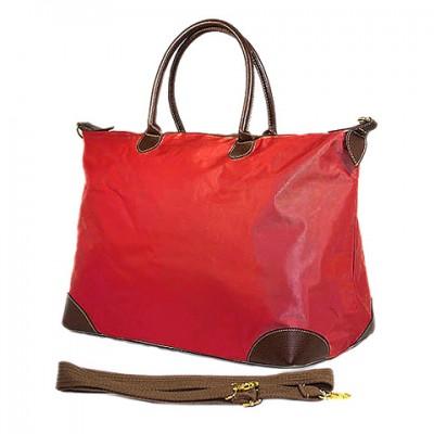 Nylon Large Shopping Tote w/ Nylon Shoulder Strap - Red - BG-HD1294RD