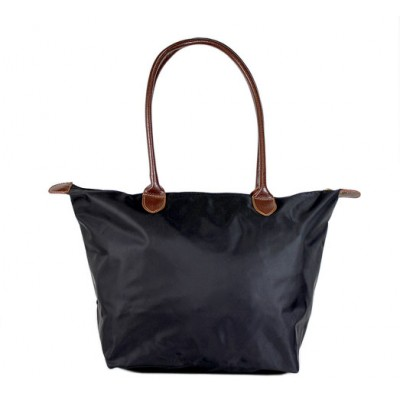 Nylon Medium Shopping Tote w/ Leather Like Handles - Black - BG-HD1641BK