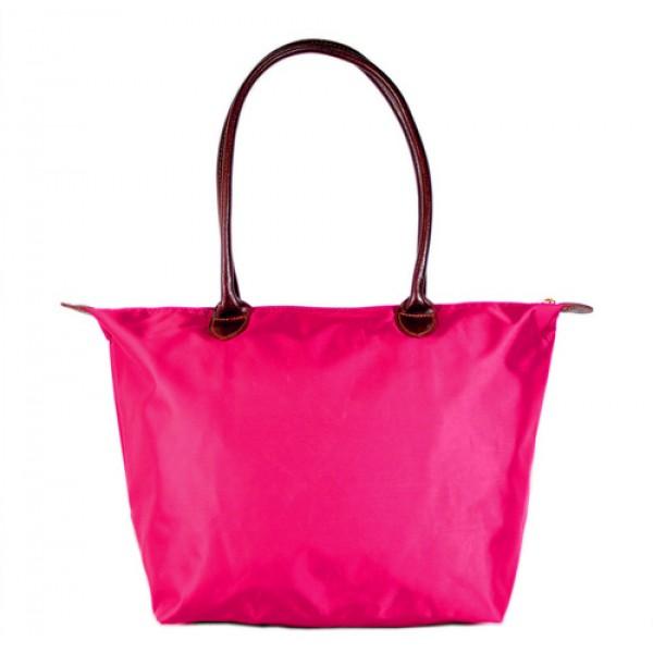 Nylon Medium Shopping Tote w/ Leather Like Handles - Fuchsia - BG-HD1641FU