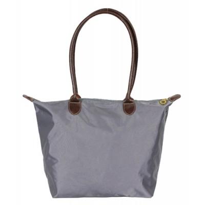 Nylon Medium Shopping Tote w/ Leather Like Handles - Grey - BG-HD1641GY