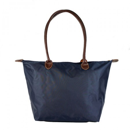 Nylon Medium Shopping Tote w/ Leather Like Handles - Navy - BG-HD1641NV