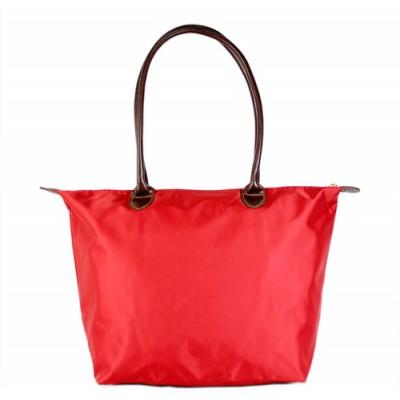 Nylon Medium Shopping Tote w/ Leather Like Handles - Red -BG - HD1641RD