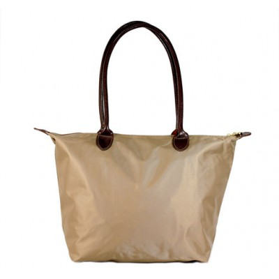 Nylon Medium Shopping Tote w/ Leather Like Handles - Taupe - BG-HD1641TP