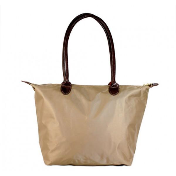 Nylon Medium Shopping Tote w/ Leather Like Handles - Taupe - BG-HD1641TP