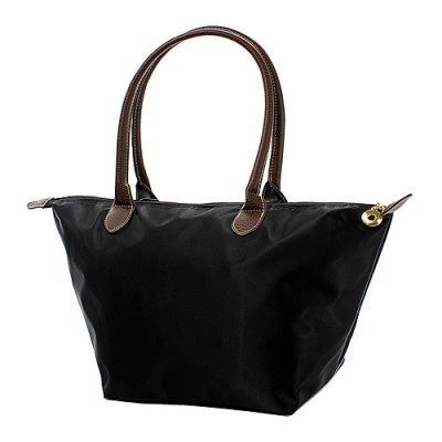 Nylon Medium Shopping Tote w/ Leather Like Handles - Black - BG-NL2016BK
