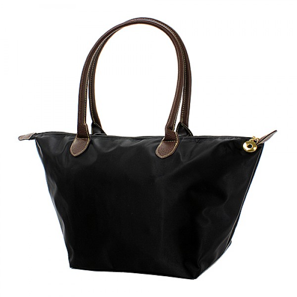 Nylon Medium Shopping Tote w/ Leather Like Handles - Black - BG-NL2016BK