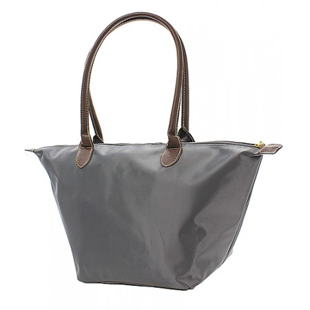 Nylon Medium Shopping Tote w/ Leather Like Handles - Gray - BG-NL2016GY