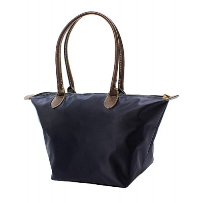 Nylon Medium Shopping Tote w/ Leather Like Handles - Navy - BG-NL2016NV