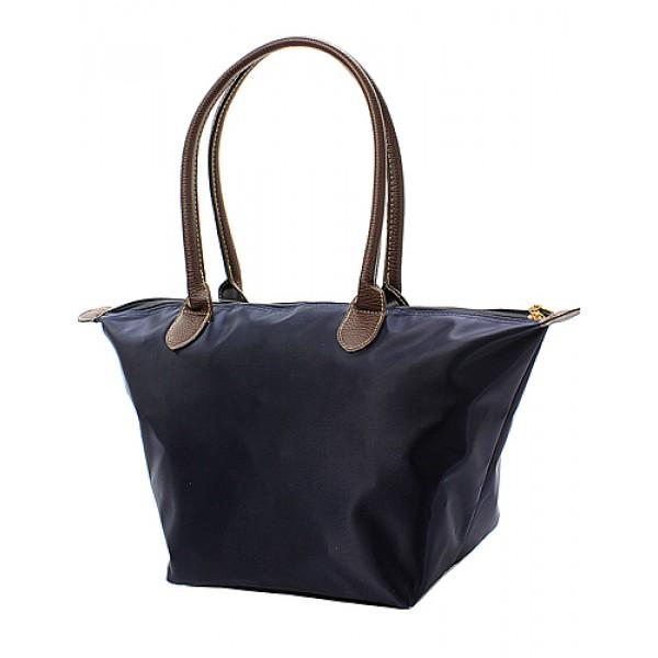 Nylon Medium Shopping Tote w/ Leather Like Handles - Navy - BG-NL2016NV